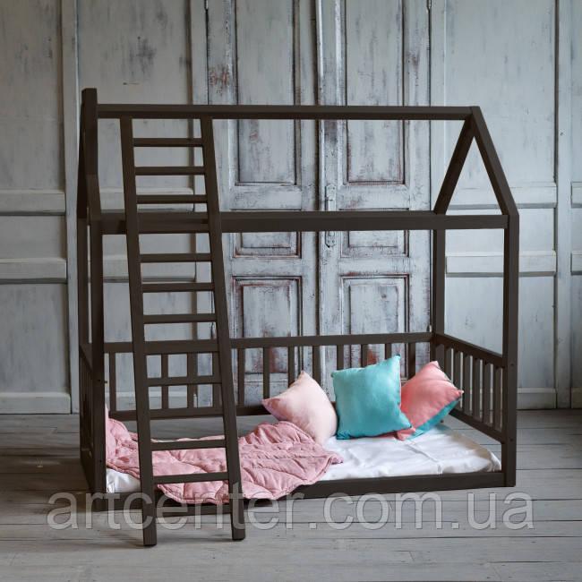 Кровать-домик напольная с лестницей