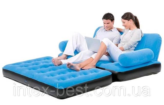 Надувной диван-трансформер 5 в 1 BestWay 67356 Голубой Comfort (Air-O-Space) (188x152x64) + насос 220V. Велюр. - Интернет-магазин «Intex-Best» в Киеве