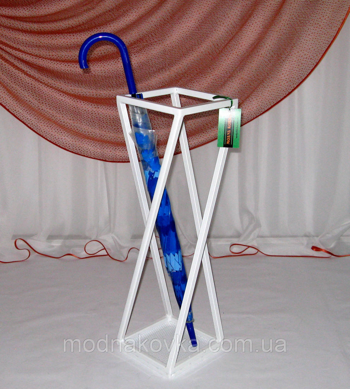 Зонтовница Модерн. Кованая подставка под зонты, белая