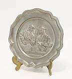 Старая настенная оловянная тарелка, олово, Германия, рукоделие, фото 6