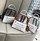 Прозрачный рюкзак с металлическими ручками мятный., фото 4