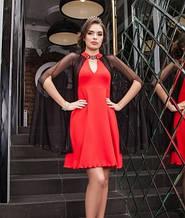 Ошатне плаття червоного кольору з накидкою чорного кольору, сукня жіноча красиве вечірнє