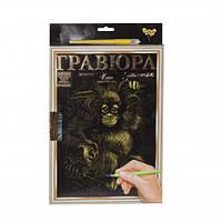 Гравюра  LUXE А4  с рамкой  Golden Metallic: Обезьянка