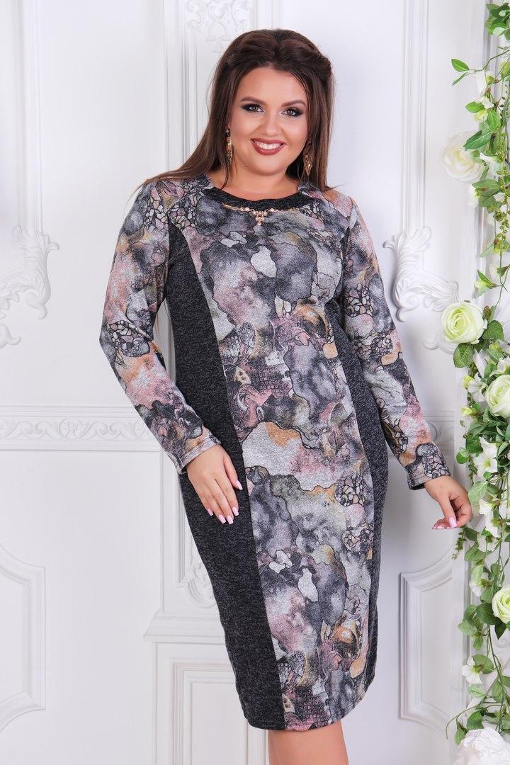 2d6c35d63f2a8c3 Комбинированное платье для полных женщин Ангора софт Размер 52 54 56 58 60  В наличии 2