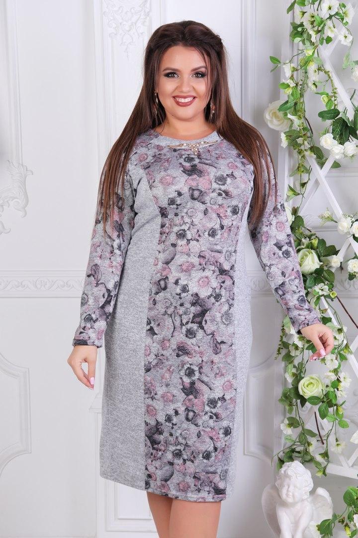 be11f7960afebe8 Комбинированное платье для полных женщин Ангора софт Размер 52 54 56 58 60  В наличии 2 цвета, цена 430 грн., купить в Одессе — Prom.ua (ID#776633384)