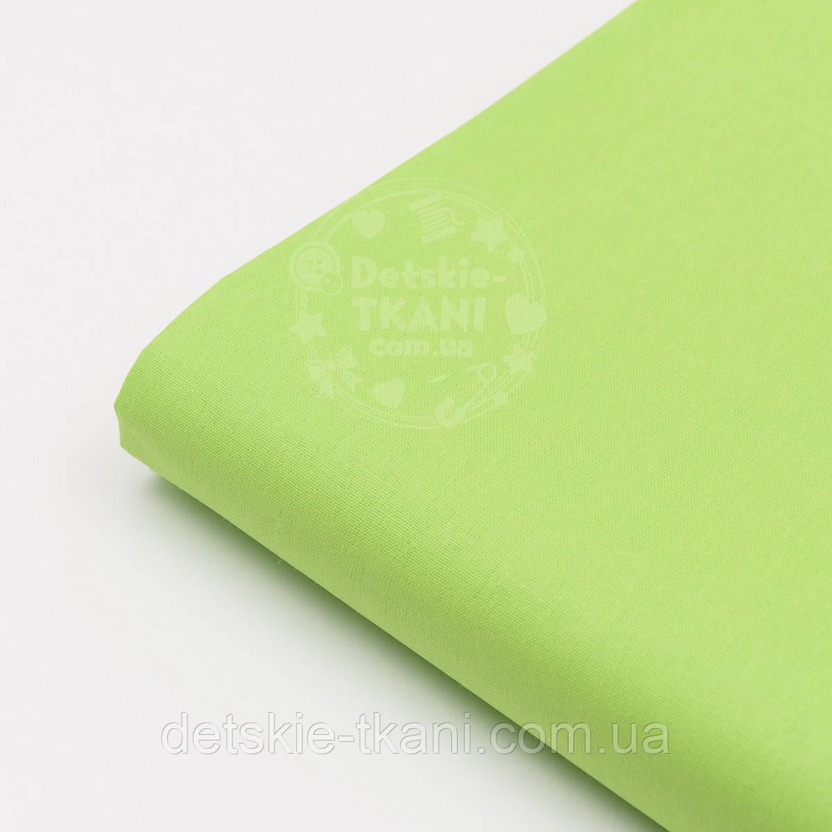 Лоскут ткани №37 однотонной бязи зелёного цвета, размер 41*80 см