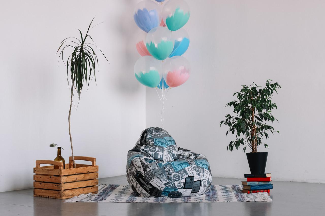 Велюровое детское кресло мешок груша 100*75 см  Париж