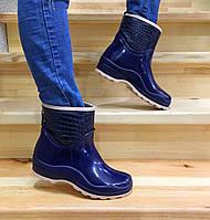 Женские резиновые сапоги, полу сапоги с утеплителем синие
