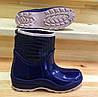Женские резиновые сапоги, полу сапоги с утеплителем синие, фото 4