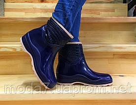 Женские резиновые сапоги, полу сапоги с утеплителем синие, фото 3