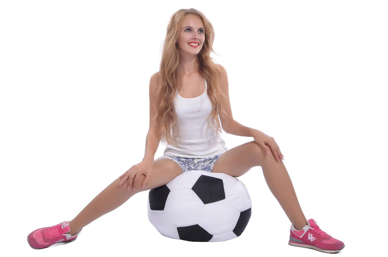Кресло-мяч 50 см из кожзама Зевс черно-белое, кресло-мешок мяч