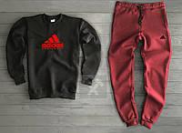 Теплый костюм спортивный Адидас Adidas черный бордо (РЕПЛИКА)