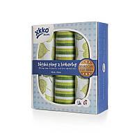 Пеленки детские хлопковые органическые муслиновые ХККО 70х70 3 шт. Зеленые полоски