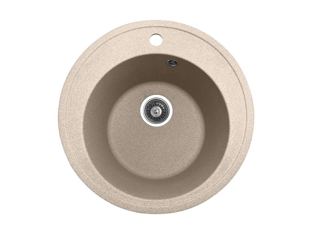 Кругла кухонна мийка PoliComposite М01 505х505х220 Бежевий
