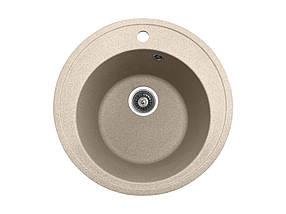 Круглая кухонная мойка PoliComposite М01 505х505х220 Бежевый