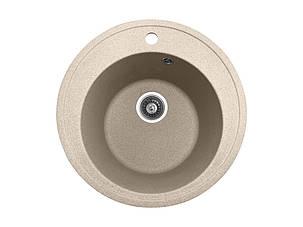 Кругла кухонна мийка PoliComposite М01 505х505х220 Бежевий, фото 2