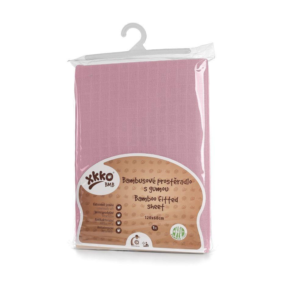 Простынь бамбуковая, муслиновая XKKO 120x60, розовая