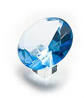 Кристалл хрустальный на подставке бирюзовый (10 см)