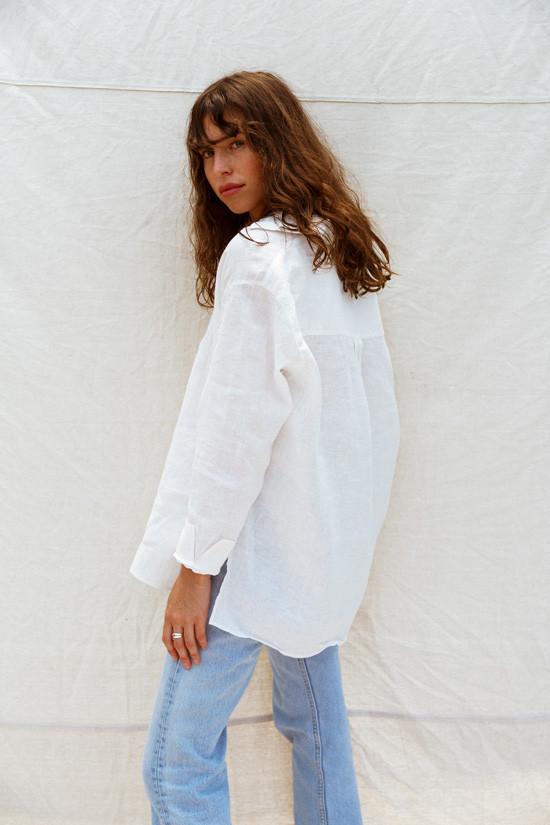55f1ca4b277 100% лен. Льняная женская рубашка. Классическая белая рубашка