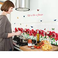 Самоклеющаяся  наклейка  на стену Красные цветы (120х48см)