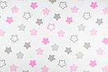 """Лоскут ткани """"Звёзды-пряники с зигзагами"""" розовые на белом,  №1387 , фото 9"""