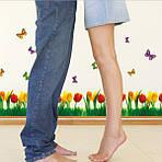 Самоклеющаяся  наклейка  на стену Тюльпаны и бабочки  (180х45см), фото 6