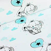 Хлопковая ткань Слоники с черными звездами, фото 1