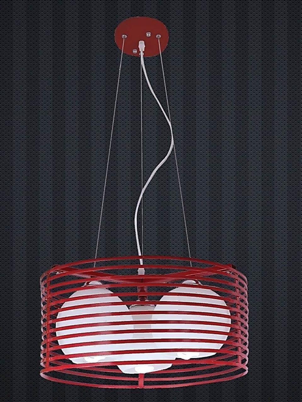 Люстра подвесная в стиле Loft на три плафона красная LV 7079800-3