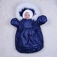 """Зимний мешок-комбинезон для новорожденных """"Космонавт"""", синий, фото 1"""