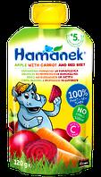 """Hame. Фруктово-овощное пюре Hamanek """"Яблочно-морковное с красной свеклой"""" 5 мес+ 120 г (790523)"""