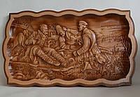 """Резная картина """"Охотники на отдыхе"""" (""""Три охотника"""") - резьба по дереву (405х230х18), фото 1"""