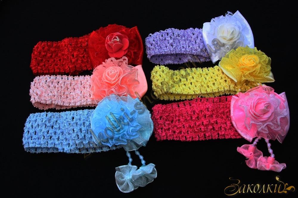 Повязка для волос сеточка цветок, ширина повязки: 4 см, 12 штук в упаковке