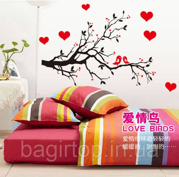 Самоклеющаяся  наклейка  на стену  Птички на дереве (85х60см)