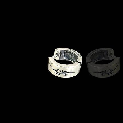 Серебряная мужская серьга Дракон, фото 2