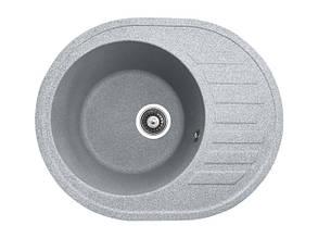 Овальна кухонна мийка PoliComposite М03 610х500х220 Сіра, фото 2