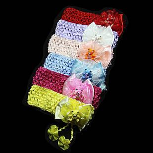 Пов'язка для волосся сіточка ведмедик, ширина пов'язки: 4 см, 12 штук в упаковці