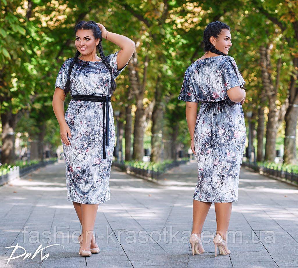 Красивое женское батальное платья в размерах 50-52  54-56