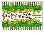 Самоклеющаяся  наклейка  на стену Забор с цветами  (136х38см), фото 2