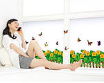 Самоклеющаяся  наклейка  на стену Забор с цветами  (136х38см), фото 5