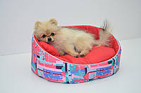 Лежак для собак и котов Акварель красный, фото 1
