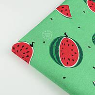 "Отрез ткани ""Арбузы"" размером 10 см на зелёном фоне (№1394)"