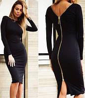Стильное демисезонное платье средней длины приталенное с длинными рукавами сзади молния черное