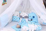 Комплект в детскую кроватку с зверюшками в голубых тонах, фото 6