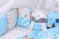 Комплект в детскую кроватку с зверюшками в голубых тонах, фото 2