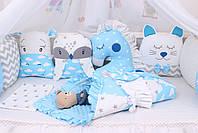 Комплект в детскую кроватку с зверюшками в голубых тонах, фото 4