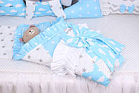 Комплект в детскую кроватку с зверюшками в голубых тонах, фото 5