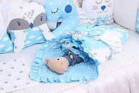 Комплект в детскую кроватку с зверюшками в голубых тонах, фото 3