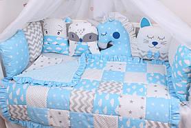 Комплект в дитяче ліжечко з тваринками в блакитних тонах
