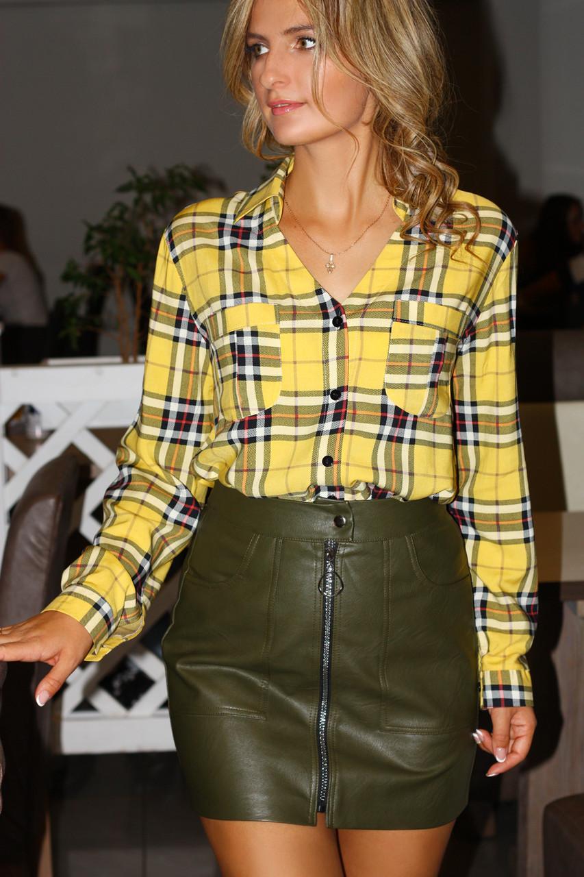 d8d51b265ed Женская рубашка в желтую клетку   продажа