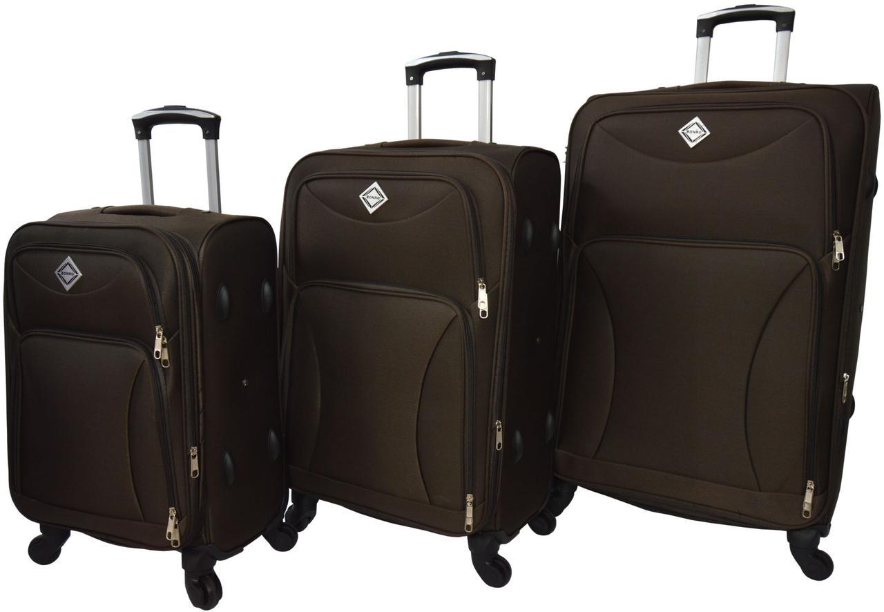 Набір дорожніх валіз на 4 колесах Bonro Tourist набір 3 штуки Коричневий